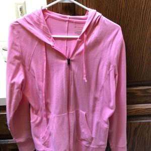 Pink zipped hooded sweatshirt